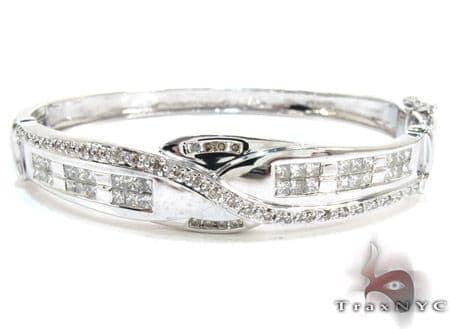 White Gold Round Princess Cut Prong Channel Invisible Diamond Bangle Bracelet Bangle