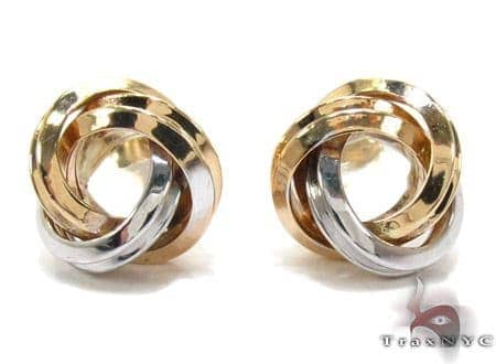 Two Tone 14K Gold Twist Earrings Metal