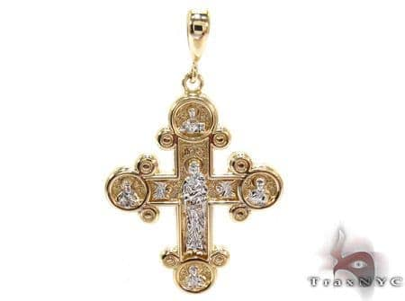 14K Gold Two Tone Cross Pendant Gold
