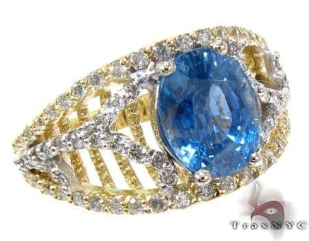 Ladies Ceylon Sapphire Diamond Ring Anniversary/Fashion