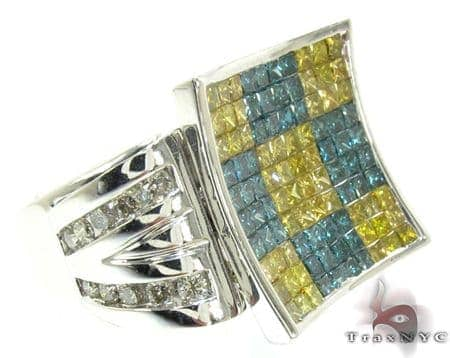 White Gold Round Princess Cut Invisible Channel Multi Color Diamond Ring Stone