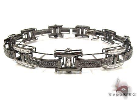 Black Gold Round Cut Micro Pave Black and White Diamond Bracelet Diamond