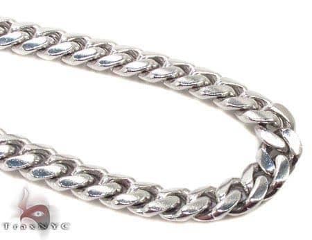 Silver 14K White Gold Plated Miami Chain 36 Inches, 5mm, 85 Grams Silver