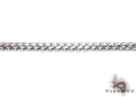 Silver 14K White Gold Plated Franco Chain 36 Inches, 1mm, 14.7 Grams Silver