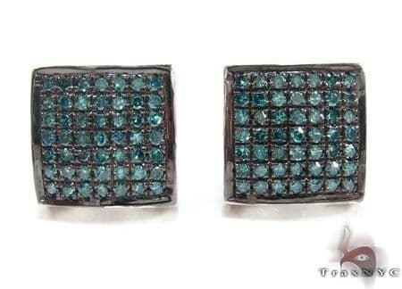 Black Silver Round Cut Prong Blue Color Diamond Earrings Metal