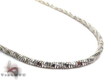 Silver 14K White Gold Plated Twist Chain 36 Inches, 3mm, 28.8 Grams Silver