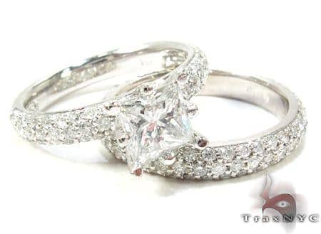 White Gold Princess Prong Cut Prong Diamond Ring Set Engagement