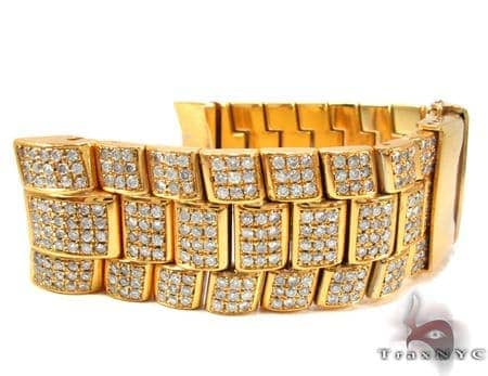Yellow Stainless Steel Round Cut Pave Diamond Watch Band Watch Accessories