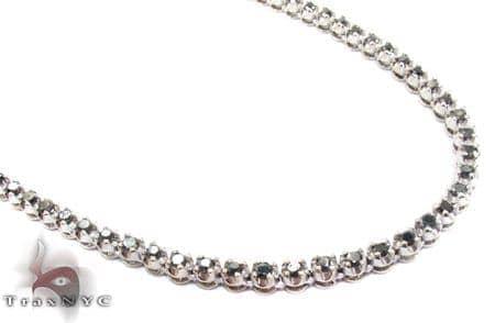 White Gold Round Cut Prong Black Diamond Chain 30 Inches, 4mm, 53.9 Grams Diamond