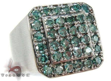 Trax NYC Heavy Blue Color Diamond Ring Mens Diamond Rings
