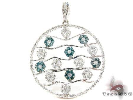 White Gold Round Cut Prong Two Color Diamond Pendant Stone