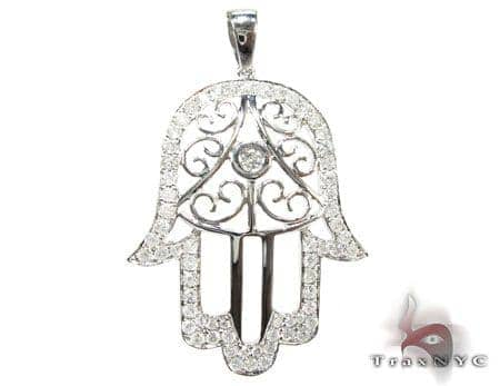 White gold hamsa diamond pendant ladies stone white gold 14k round white gold hamsa diamond pendant mozeypictures Images