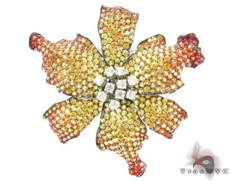 Yellow & Orange Sapphire Diamond Exotic Flower Brooch Stone