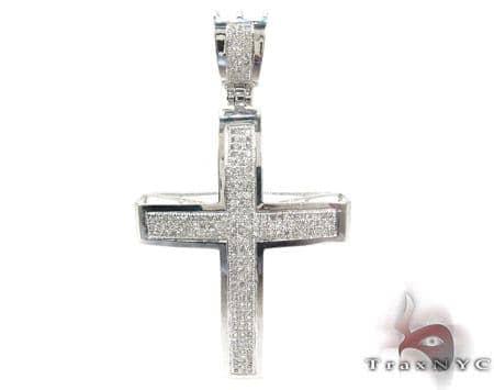 10K Gold Junior Cross and 24 Inches Silver Franco Chain Set Diamond
