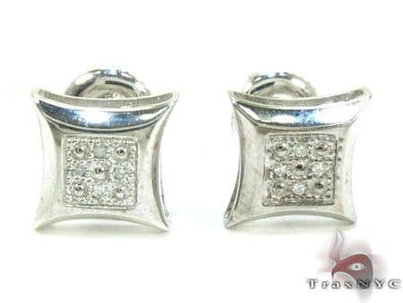 White Gold Round Cut Micro Pave Diamond Earrings Stone