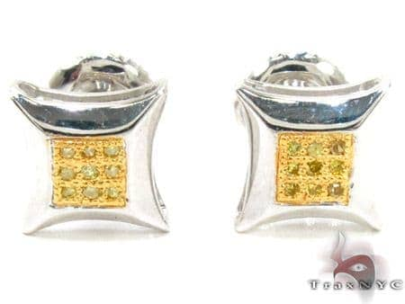 Small Round Cut Micro Pave Canary Diamond Earrings Stone
