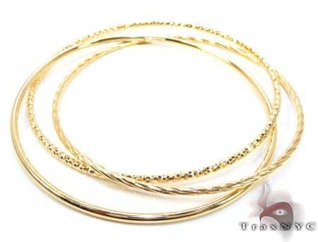 Yellow Silver Twist Bangle Bracelet Silver & Stainless Steel
