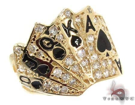 Yellow 10K Gold CZ Small Poker Cards Ring Metal