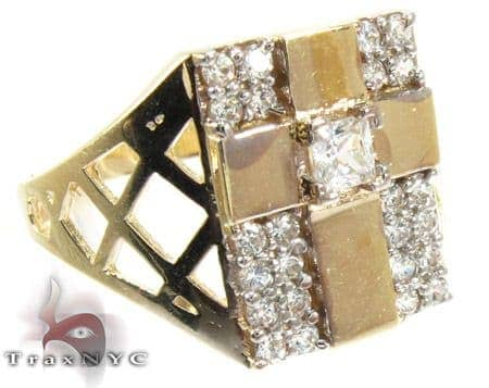 Yellow 10K Gold CZ Cross Ring 25257 Metal