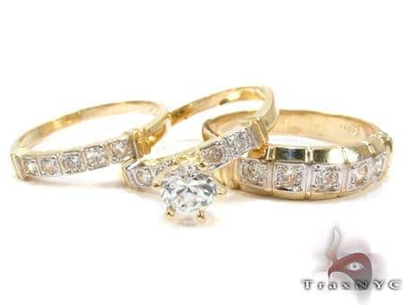 10K Gold His & Her CZ Ring Set 25277 Engagement