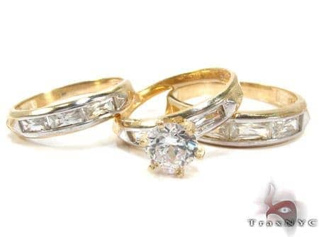 10K Gold His & Her CZ Ring Set 25285 Engagement