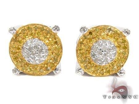 White Silver Round Cut Prong Bezle Diamond Earrings 25292 Metal