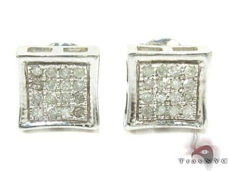 White Silver Round Cut Micro Pave Diamond Earrings 25295 Metal