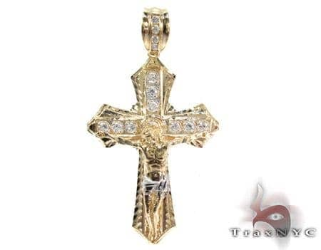 Yellow 10K Gold CZ Jesus Cross Pendant 25310 Gold