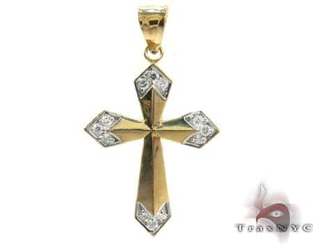 Yellow 10K Gold CZ Jesus Cross Pendant 25317 Gold