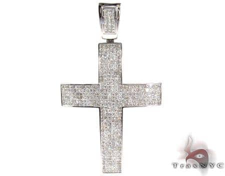 14K Gold Fully Diamond Cross Pendant 25409 Diamond