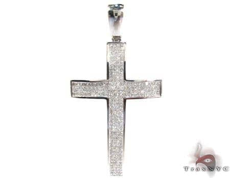 14K Gold Diamond Cross Pendant 25412 Diamond