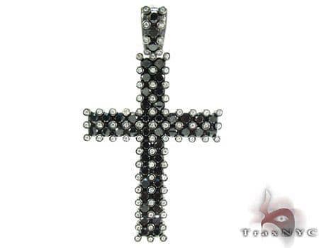 10K Gold Black and White Diamond Cross Pendant 25414 Diamond