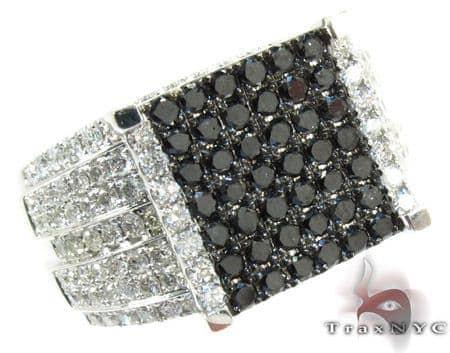 14K Gold Black and White Diamond Square Ring 25430 Anniversary/Fashion