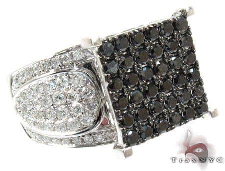 14K Gold Black and White Diamond Square Ring 25431 Anniversary/Fashion