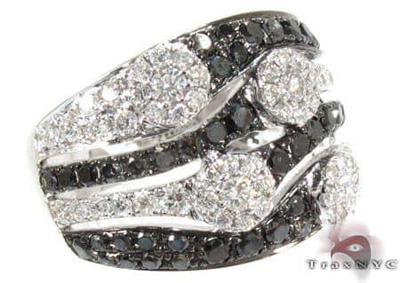 18K Gold Black and White Diamond Ring 25442 Anniversary/Fashion