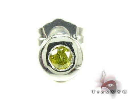 14K Gold Bezel Diamond Stud Single Earring 25535 Stone