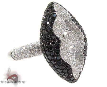 18K Gold Black and White Diamond Fashion Ring 25541 Anniversary/Fashion