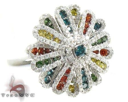 14K Gold Plentiful Color Diamond Flower Ring 25546 Anniversary/Fashion