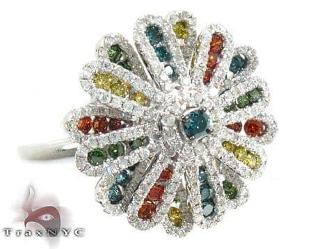 14K Gold Plentiful Color Diamond Flower Ring 25546 Anniversary/Fashion