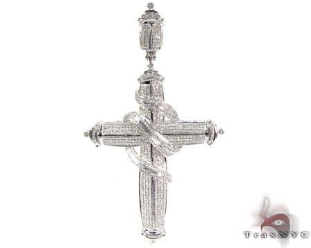 Silver Diamond Wrapped Cross Pendant 25562 Silver