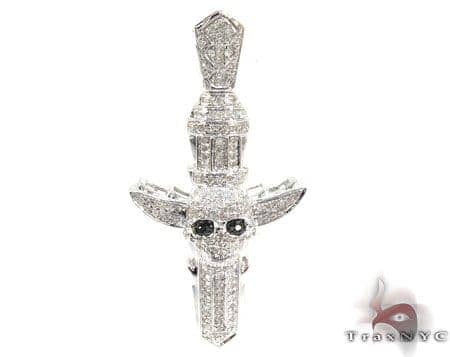 Silver Diamond Skull Cross Pendant 25568 Silver