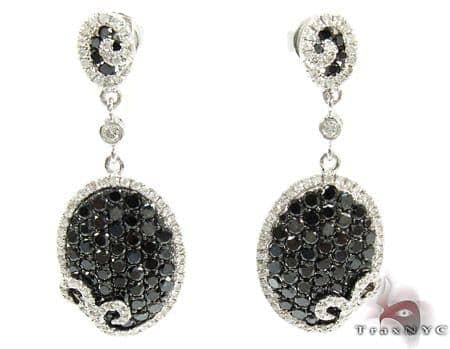 14K Gold Black and White Diamond Chandelier Earrings 25575 Style