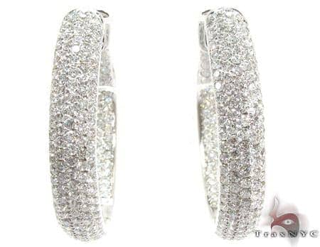 14K Gold Diamond Hoop Earrings 25576 Style