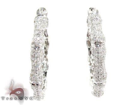 14K Gold Diamond Hoop Earrings 25577 Style