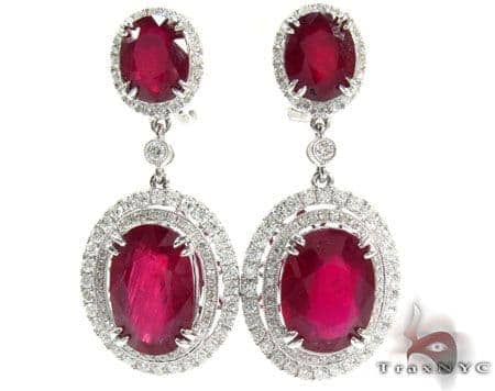18K Gold Ruby and Diamond Elegant Earrings 25596 Stone