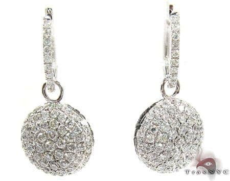 18K Gold Diamond Disc Earrings 25599 Stone