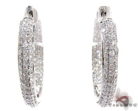 14K Gold 3 Row Diamond Hoop Earrings 25600 Style