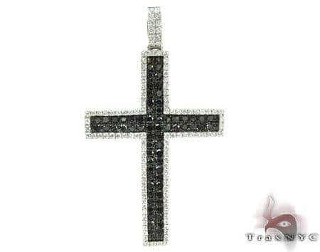 14K Gold Black and White Diamond Cross 25604 Diamond