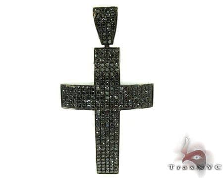 14K Gold  Fully Black Diamond Cross 25605 Diamond