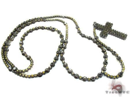 Canary and Black Diamond Rosary 36 Inches 5mm 54 Grams Diamond Gold Rosary Chains